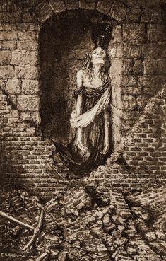 "Frederick Simpson Coburn - Ilustración para ""The Black Cat"" - Complete Works of Edgar Allan Poe - 1902"