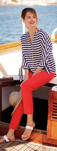 Cruise Wear for Women Over 50 - http://www.boomerinas.com/2013/02/12/cruise-clothing-nautical-stripes-sailor-style/