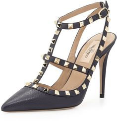 Valentino Rockstud Leather Halter Pump, Marine, black gold stud pumps, black Valentino sandals http://www.shopstyle.com/action/apiVisitRetailer?id=469135070&pid=uid7609-25959603-56