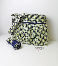 Stella Diaper bag Set with Changing Mat - Large - Swivel Navy and Lime - READY to SHIP Nappy Bag Attach to Stroller by marandalee on Etsy