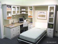 Home Office mit Schrankbett und Schrank Twin Size Murphy Bed, Build A Murphy Bed, Murphy Bed Plans, Murphy Bed Office, Murphy Bed Desk, Guest Room Office, Home Office Decor, Home Decor, Office Ideas