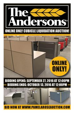 The Andersons Inc. Online Only Cubicle Liquidation Auction! Bidding Opens: Tues. Sept. 27, 2016 at 12:00pm Bidding Closes: Thurs. Oct. 13, 2016 at 12:00pm The Andersons Inc Is Moving To New Headquarters In Maumee! Everything Has To Go! Hundreds of Cubicles Selling In Bulk! Brands Include HON, Herman Miller, & More! Bid Today at www.pamelaroseauction.com! Preview: Monday, Oct. 10, 2016 from 9am-12pm at 480 W. Dussel Drive, Maumee, OH 43537. Questions? Call (419) 865-1224. Pamela Rose Auction…