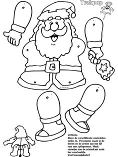 Kerstman - Trekpoppen - Knutselpagina.nl - knutselen, knutselen en nog eens knutselen.