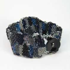 Freeform Beaded Cuff Blue Gray Black Night by playnwithbeads, $36.00