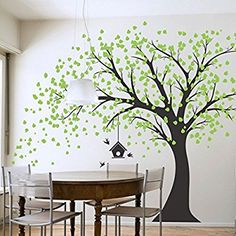Giant Black Tree Wall Decal with Green Leaves Birds And Birdcage DIY Vinyl Wall Decal Sticker for Babies Kids Children Bedroom Decoration
