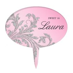 Sweet 16 Cake Topper Silver Leaf Swirl Pink