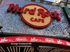 The Hard Rock Café in Hollywood, California. Photo by, George Vreeland Hill Hollywood California, In Hollywood, Hard Rock, Neon Signs, Hard Rock Music
