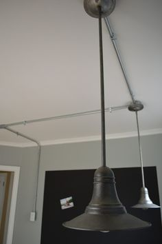 Exposed electrical work can be neat and tidy, and look great in your space. Fun and industrial looking. Conduit Lighting, Loop Lighting, Track Lighting Fixtures, Pipe Lighting, Studio Lighting, Kitchen Lighting, Room Lights, Ceiling Lights, Summer House Interiors