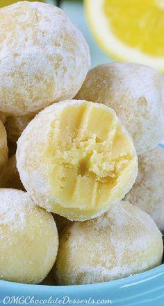 White Chocolate Lemon Truffles   OMGChocolateDesserts.com   #truffles #lemon #chocolate