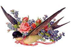 Bluebird Vintage, Vintage Birds, Vintage Easter, Vintage Artwork, Vintage Images, Decoupage, Easter Pictures, Die Cut, Graphics Fairy