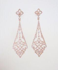 Rose Gold Art Deco earrings Rose Gold Chandelier by treasures570 #bridalearrings #weddingjewelry #artdeco
