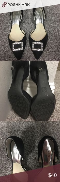 Michael Kors Heels size 9.5 Only worn twice! Velvet black with rhinestone buckle. Only issue is one shoe needs rubber heel tip replaced. MICHAEL Michael Kors Shoes Heels