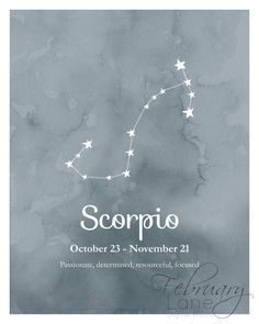 Scorpio Zodiac Constellation Wall Art Printable 8x10 - Instant Download Birthday…