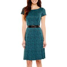 Perceptions Short-Sleeve Belted Jacquard Fit-and-Flare Dress  found at @JCPenney