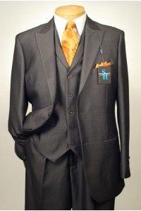 STEVE HARVEY - A35  2 Button 3 Piece Chocolate Brown Check Men's Suit