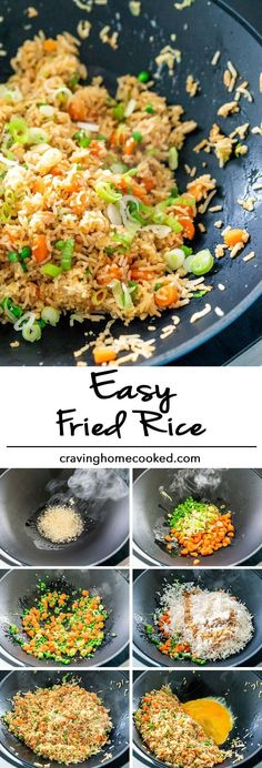 Super quick and Easy Fried Rice in less than 10 minutes. This fried rice is very. - Super quick and Easy Fried Rice in less than 10 minutes. This fried rice is very versatile, made wi - Shrimp And Rice Recipes, Wok Recipes, Easy Rice Recipes, Asian Recipes, Cooking Recipes, Fried Rice Recipes, Minute Rice Recipes, Fried Rice Dishes, 10 Minute Meals
