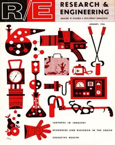 For starters: a set of scientific instruments, translated into engaging form using a slightly abstract sensibility and a two-color palette. Jim Flora, cover illustration, Research and Engineering , January Creative Illustration, Graphic Design Illustration, Art Illustrations, Flora, Print Layout, Mid Century Art, Magazine Art, Magazine Covers, Graphic Design Typography