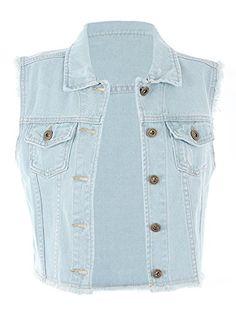 3a9211d8ed0238  24.99 - Anna-Kaci Womens Distressed Denim Button Up Sleeveless Crop Vest  Plain Hoodies