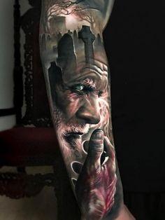 Amazing 3 colors realistic tattoo style of Death motive Cemetery and Old Man done by tattoo artist Arlo DiCristina Arlo Tattoo, Zeus Tattoo, Tatoo Art, Tattoo Life, Outer Forearm Tattoo, Forearm Tattoos, Body Art Tattoos, Sleeve Tattoos, Warrior Tattoos