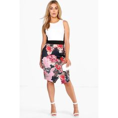 Boohoo Plus Julia Floral Midi Dress (1,635 INR) ❤ liked on Polyvore featuring dresses, white floral dress, botanical dress, boohoo dresses, white floral print dress and white midi dress