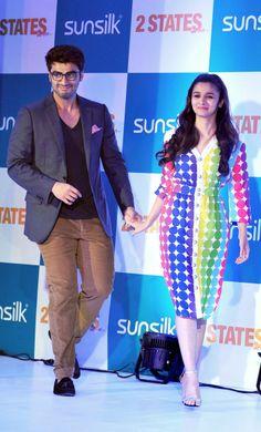 Alia Bhatt and Arjun Kapoor promoting '2 States' #Style #Bollywood #Fashion #Beauty