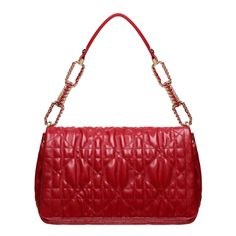 Size: 11.81 x 7.87 x 4.72 inches - Deliciously precious, the 'Dior Delices' collection comes in a light, refined pouch. - In red lambskin with embossed 'Cannage' stitching, this flap bag has a press closure. Braided with a satin ribbon, the handle elegantly combines leather and a gold-tone metal chain.  - 3 compartments and 1 zipped pocket