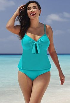 27fe0208c9efe Tankinis - Shore Club Aquamarine Tie-Front Underwire Tankini One Piece  Swimwear