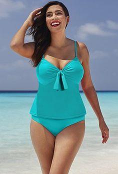 27fe0208c9efe Tankinis - Shore Club Aquamarine Tie-Front Underwire Tankini One Piece  Swimwear