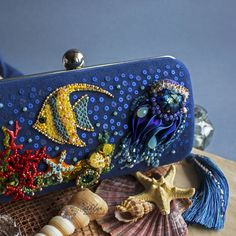"Buy The clutch-box ""Coral reef"" : beadwork, Swarovski crystals - dark blue Handmade Clutch, Handmade Bags, Creative Bag, Crochet Pouch, Potli Bags, Unique Handbags, Beaded Bags, Change Purse, Beautiful Bags"