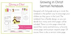 Growing in Christ Sermon Notebook
