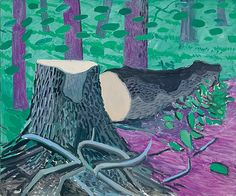 (UK) Felled totem in Yorkshire by David Hockney ). oil on canvas. David Hockney Ipad, David Hockney Artist, David Hockney Landscapes, David Hockney Paintings, Painting Wallpaper, Painting & Drawing, Contemporary Artists, Modern Art, James Rosenquist