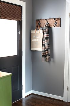 Street Design School: Feature Friday: House on the Left Paint Doors Black, Painted Doors, Black Door, Interior Design Blogs, Behr Paint Colors, Wall Colors, Tech Room, Mobile Home Makeovers, Blue Gray Paint