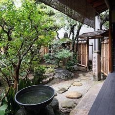 Machiya's garden. Machiya is Japanese traditional townhouse. There's always a garden inside the house.  #町屋 #京都 #日本国 #machiya #garden #townhouse #japan #kyoto.