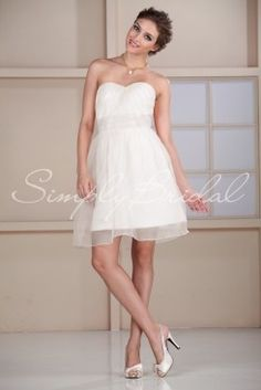 Wedding Dress by SimplyBridal. This short ball gown is fun and flirty. The sweetheart neckline is ruched beautifully and the waist is accentuated with a wide band. This silhouette is perfect for thin and petite brides, while the light organza can also flatter fuller figures. A great ch. USD $109.99
