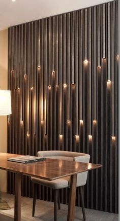 - Modern Interior Designs - USA contemporary home decor and mid-century modern lighting ideas from DelightFU. Office Interior Design, Interior Walls, Office Interiors, Apartment Interior, Design Offices, Office Wall Design, Modern Wall Paneling, Paneling Ideas, Wall Panelling