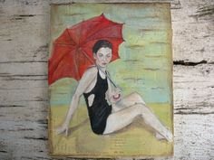 Girl With Parasol beach girl painting sitting on the by luckduck