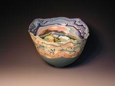 Coloured Porcelain Vases by Judith de Vries Glass Ceramic, Ceramic Clay, Ceramic Pottery, Porcelain Ceramics, China Porcelain, Vintage China, Clay Art, Serving Bowls, Decorative Bowls