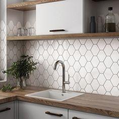 Modern Kitchen Tiles, Kitchen Splashback Tiles, Wall Tiles For Kitchen, White Tile Backsplash, White Wall Tiles, Hexagon Backsplash, Kitchen Interior, Kitchen Decor, Home Kitchens
