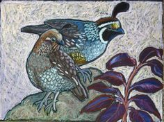 Original Oil Pastel Painting of California Quail by Ande Gene Hall. Availabel on Etsy: https://www.etsy.com/listing/124425490/original-bird-painting-of-california