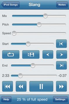 """Sweet app- You can repeat any section of the music at full speed, slow it down or even speed it up by changing the speed between 33% (1/3 of original speed) and 200% (double speed) without changing the pitch!    Change the tuning or musical key? No problem, Amazing Slow Downer handles that as well.    Setup seamless loops by touching the """"Set"""" buttons during playback."""