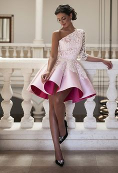 Short Homecoming Dresses,one Shoulder Homecoming Dresses,lace Homecoming Dresses,short Pink Prom Dresses For Teens Lace Homecoming Dresses, Bridesmaid Dresses, Graduation Dresses, Dress Prom, Party Gowns, Party Dress, Prom Party, Pretty Dresses, Beautiful Dresses