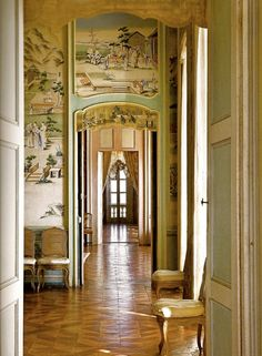 ENFILADE: A term in architecture for a series of rooms with doors in line with each other, providing a vista through the suite of rooms. Beautiful Interiors, Beautiful Homes, Royal Bedroom, The Door Is Open, Swedish House, Chinoiserie Chic, Grand Homes, French Chateau, English Countryside