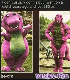 Barney before and after - funny ghetto pictures, funny pictures, ratchet pictures