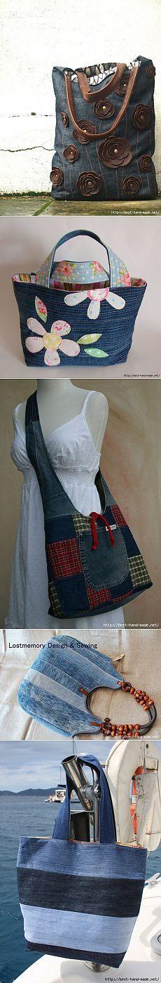 Search on Postila: jeans bags My Bags, Purses And Bags, Sacs Tote Bags, Diy Sac, Denim Purse, Denim Ideas, Denim Crafts, Recycle Jeans, Recycled Denim