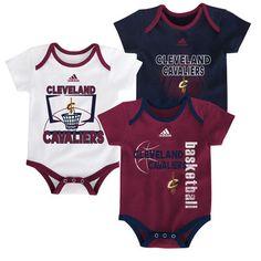 Cleveland Cavaliers adidas Newborn & Infant 3-Point Bodysuit Set - Wine/Navy/White