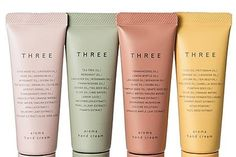 THREE (three) aroma hand cream kit - Basic Care for Beautiful Womans Skincare Packaging, Cosmetic Packaging, Beauty Packaging, Brand Packaging, Cover Design, Plakat Design, Face Oil, Aesthetic Makeup, Makeup Brands