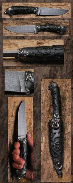 Gerdil Лоран - Скульптура - Человек лезвие Дамаск взрыв Клод SCHOLESSER Размер: 13 х 0,4 см Дело канал и вырезал из черного дерева. Охранная и луку снимки литой бронзы с использованием утраченной воск
