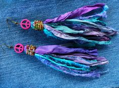 Hippie Sari Silk Earrings with Magenta Peace by GypsyInMyBlood, $30.00