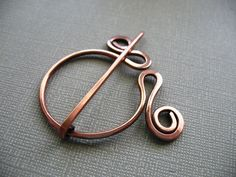 Wandering Circle Copper Penannular Brooch Fibula - Scarf Pin - Shawl Pin - Closure.