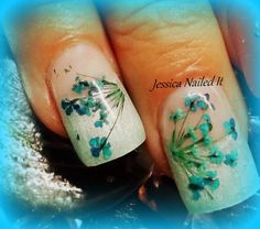 my nails, this is real dried flowers embedded in the gel